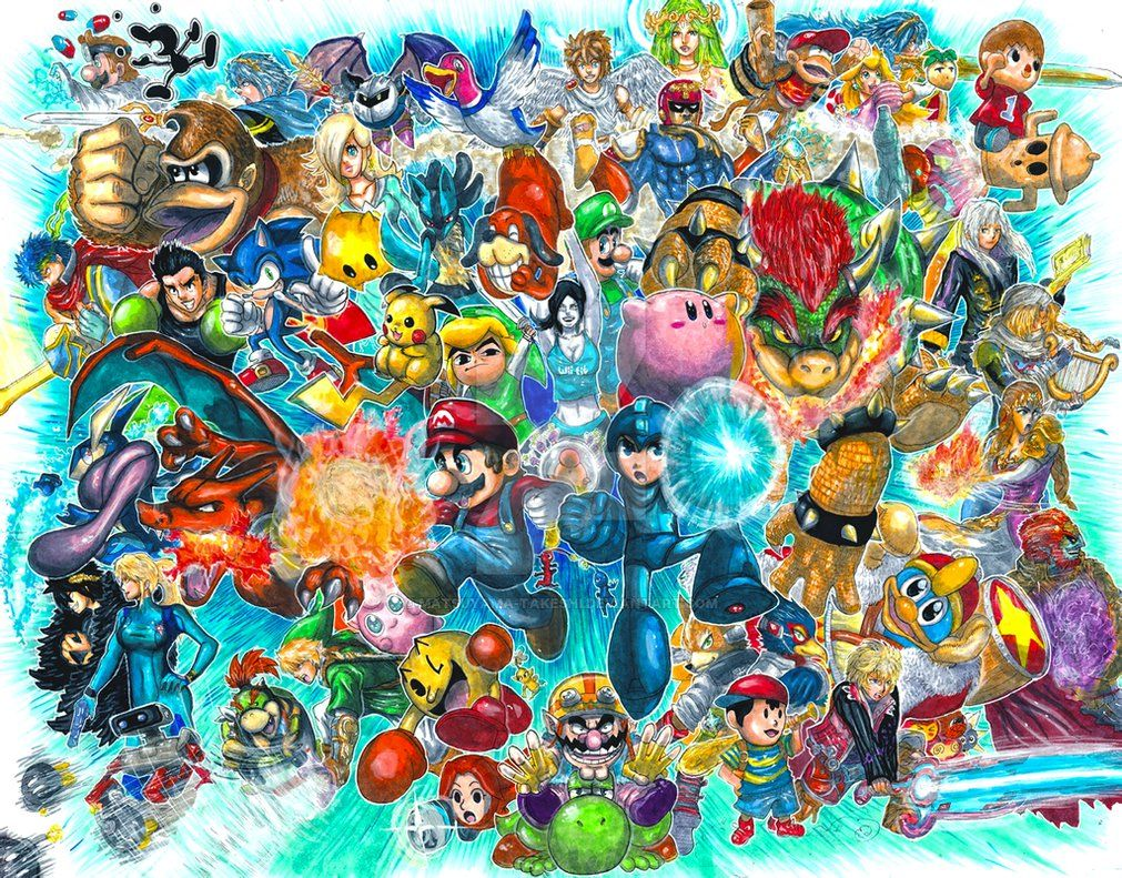 My First Super Smash Bros Fan Art Aka All The Little Guys Makin The Big Guys Look Dumb I Dunno How Tha Super Smash Bros Smash Bros Super Smash Bros Brawl