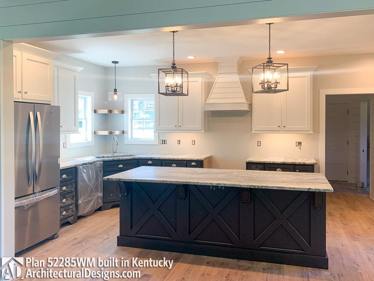 Farmhouse Plan 52285wm Comes To Life In Kentucky In 2020 Farmhouse Plans Kitchen Cabinets Elevation Steel Beam Sizes