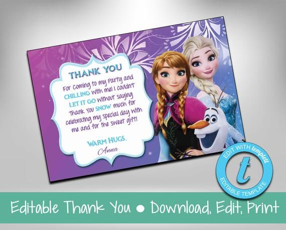 INSTANT DOWNLOAD Frozen Thank You Card - Frozen Thank You Note