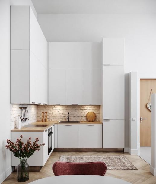 Magnifique Exemple De Petite Cuisine D Angle Modele Petite Cuisine Blanche Avec Plan De Travail Bois Et Credence In 2020 Charming Kitchen Kitchen Vinyl Kitchen Faucet
