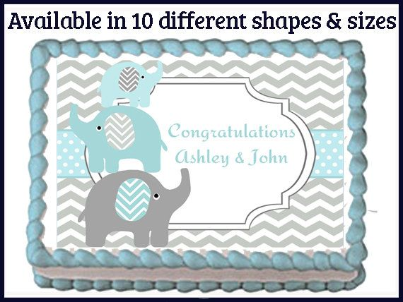 Elephant Family Blue Safari Edible Baby Shower Party Cake Cupcake Toppers  Choose From 10 Frosting Sheet Sizes Custom Personalized