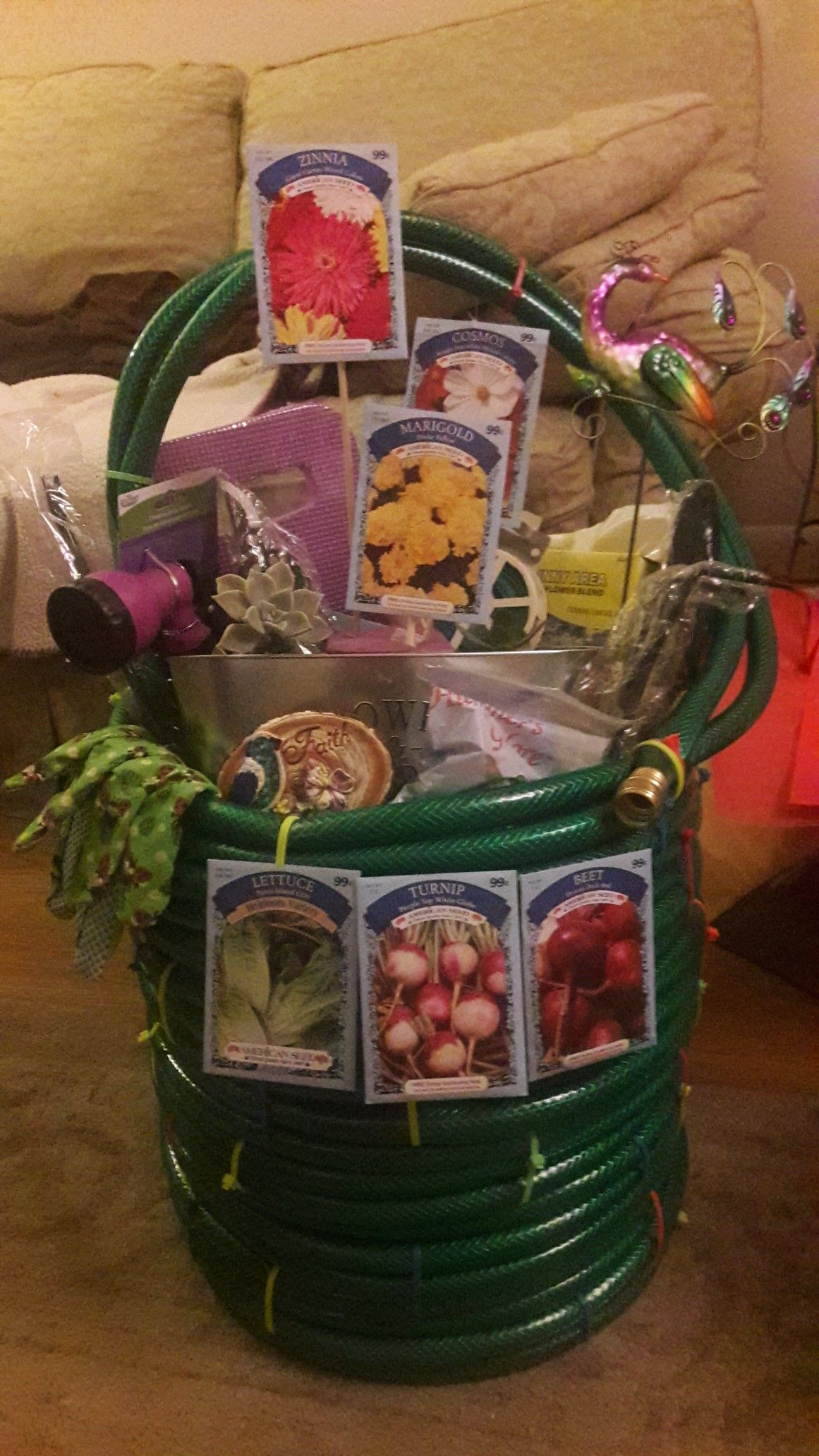 Waterhose Gift Basket I Made This Basket With A 100 Garden Hose