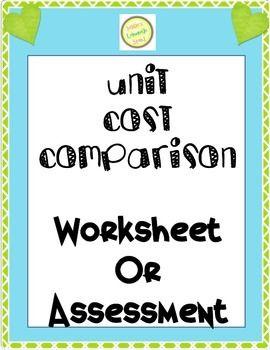 Unit Price - Unit Cost - Comparison Worksheet
