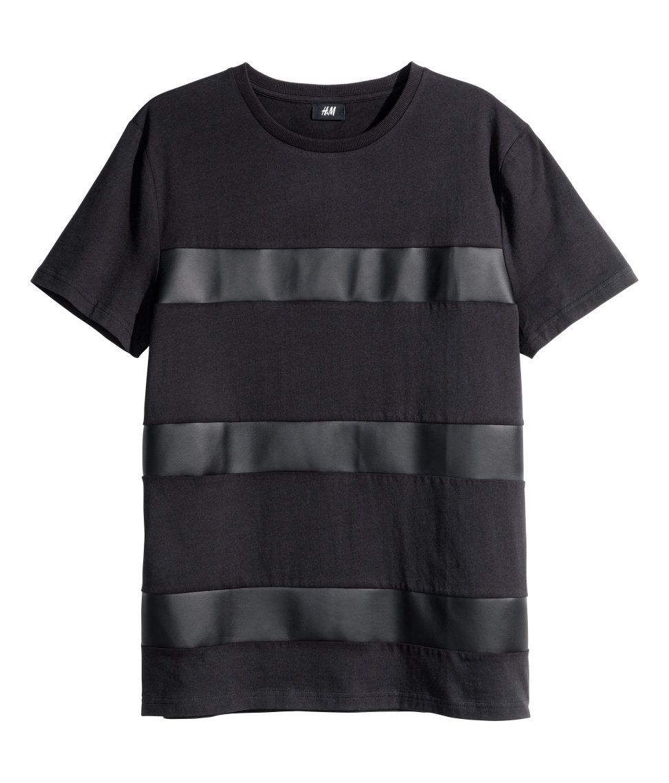 4fb57d7425e Black T-shirt with faux leather stripes.