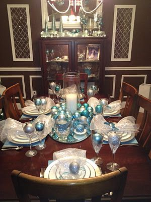 A Look At Our Dining Table Christmas Decor Silver Aqua Blue And White Classic Christmas Wi Silver Christmas Decorations Silver Christmas Teal Christmas