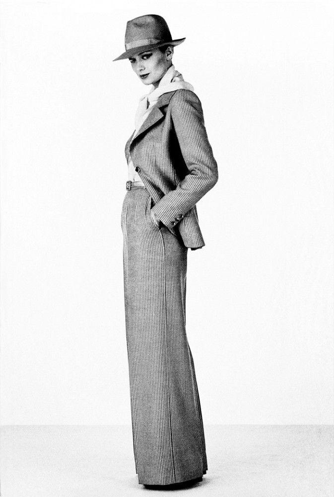 1975 editorials fashion vintage 70s pantsuit jacket pants wide leg hat annie hall style manly wool tweed tan shirt white