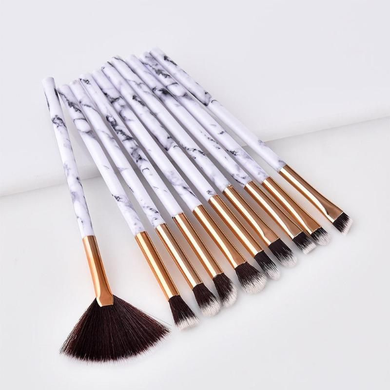 Marbled 10-piece Brush Set -   14 beautiful makeup Brushes