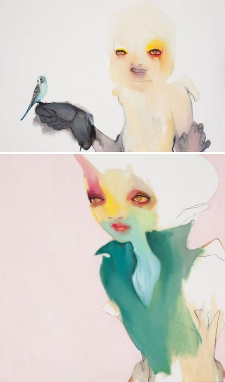 Is it possible to be totally smitten, yet somewhat terrified? Yes, yes it is. These bizarrely beautiful oil paintings by Australian artist Abbey McCulloch have my heart racing… I'm not sure if it's because of her stunning color choices, her spooky girls, or that tiny pink pig in one of her other paintings.