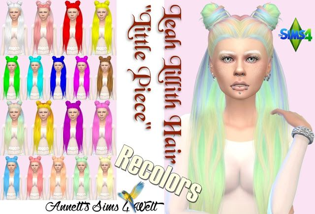 """Sims 4 CC's - The Best: Leah Lillith Hair """"Little Piece"""" - Recolors by Ann..."""