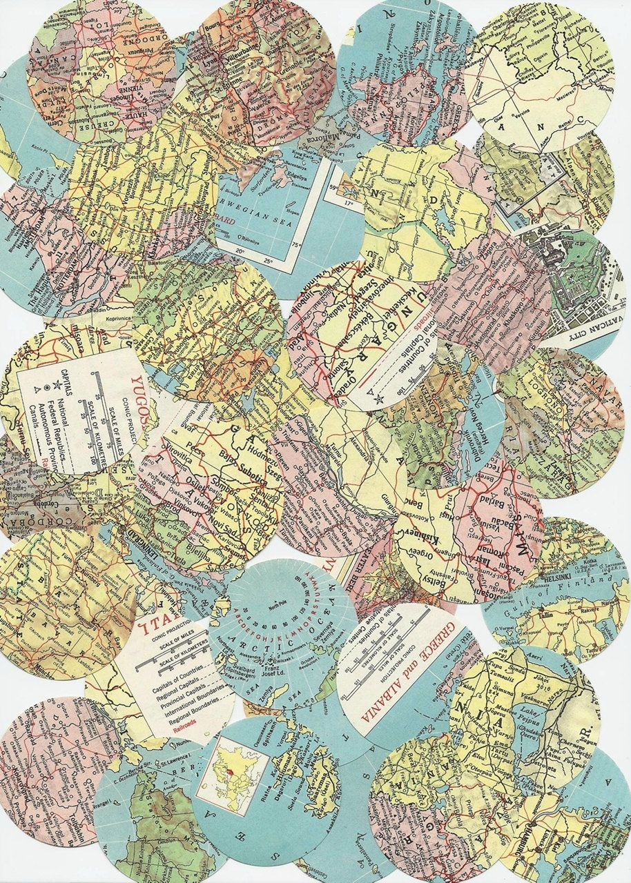 Vintage 1956 world map scrapbooking supplies 2 inch round paper vintage 1956 world map scrapbooking supplies 2 inch round paper punches 50 punches vintage paper ephemera gumiabroncs Image collections