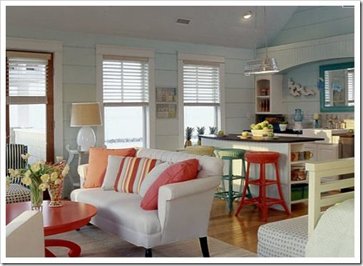 White Kitchen Orange Accents orange accents in white & pale blue kitchen myhomeideas | living