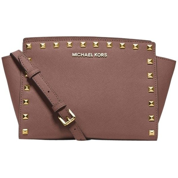 89e77498fc4434 Pre-owned Michael Kors Selma Stud Medium Messenger Dusty Rose/gold...  ($186) ❤ liked on Polyvore featuring bags, handbags, shoulder bags, ...