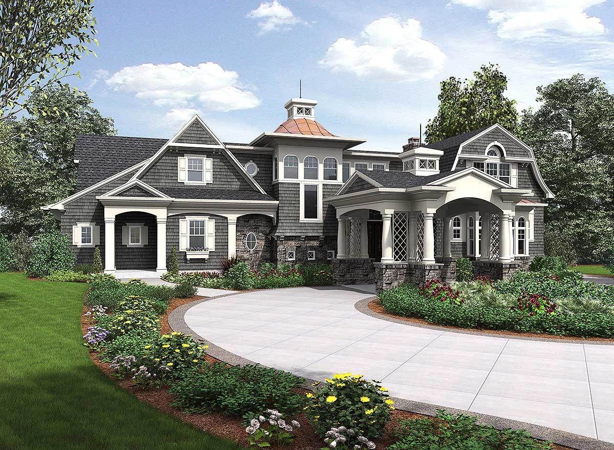 Premium Shingle Style House Plan 23599JD