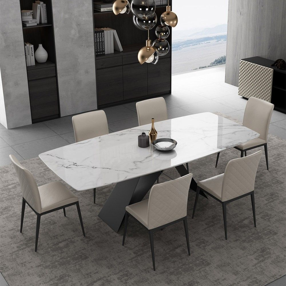 Stylish 63 71 79 Rectangular White Faux Marble Dining Table With Black Metal Frame Dining Table Marble Dining Room Table Marble Gold Dining Room