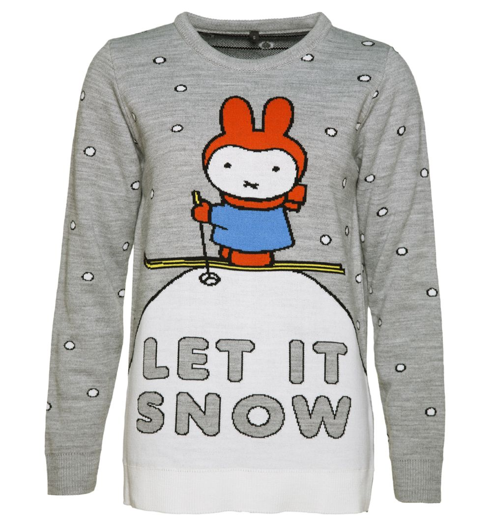 TruffleShuffle Womens Miffy Let It Snow Knitted Jumper