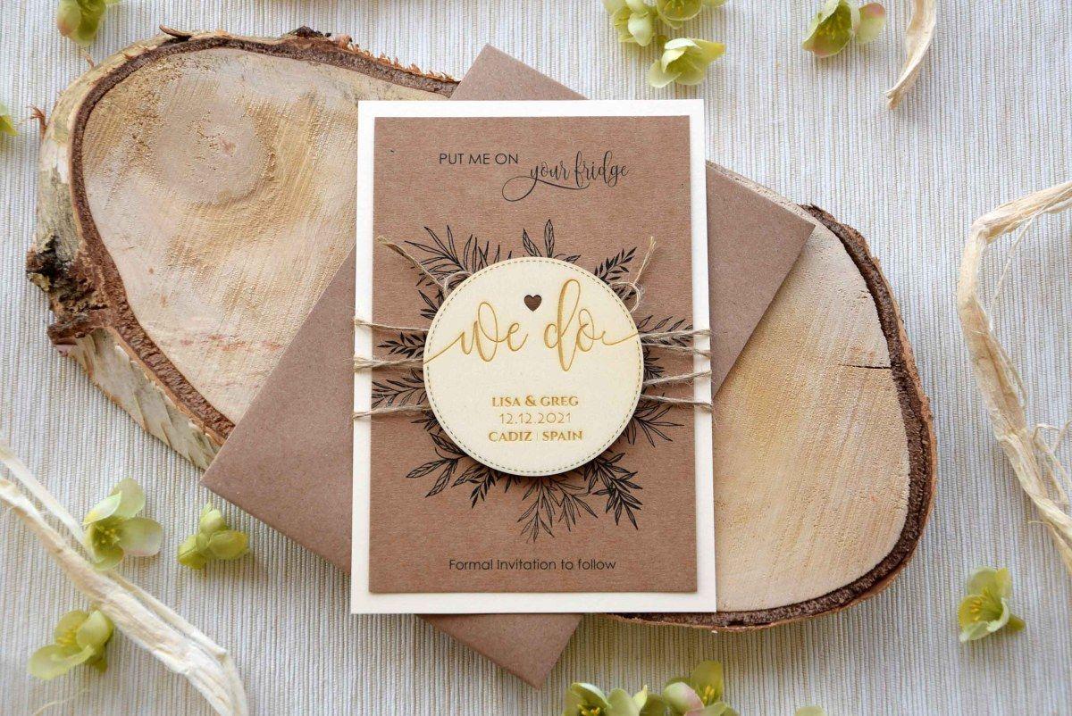 Wooden Wedding Save the Date Invitaciones de