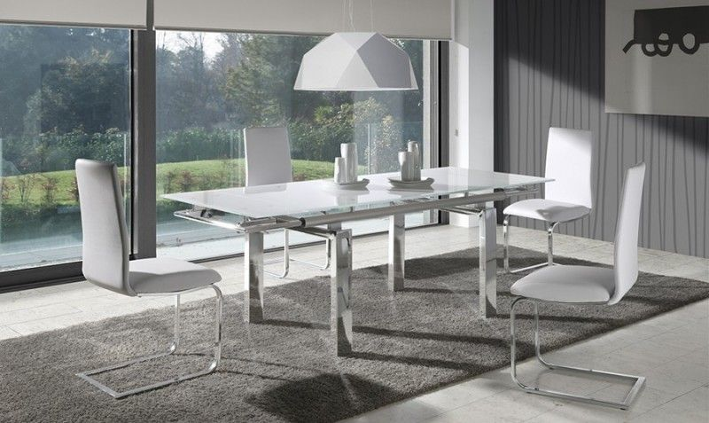 Mesa de comedor extensible de cristal selena comprar for Muebles rey sillas