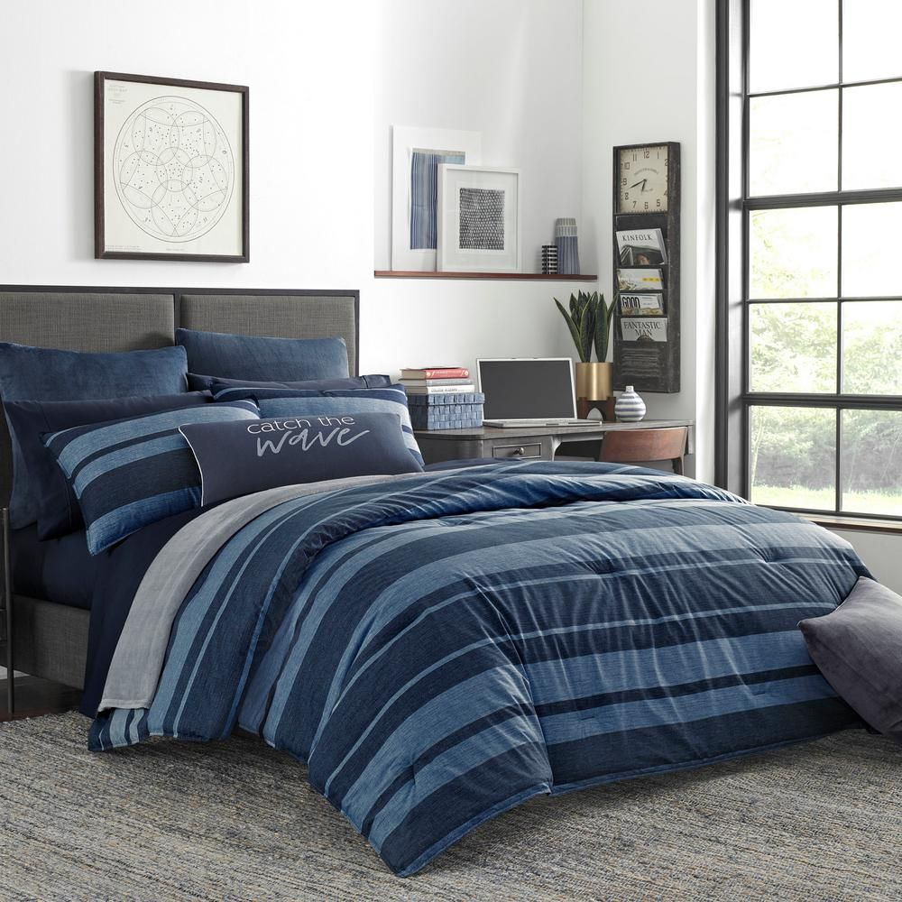 High Quality Extra Thick Twin Xl Queen Or King Bedding Nightfall Navy Blue Super Soft Natural Loft Extra Large Comforter Navy Comforter Bedroom Down Comforter Bedding Comforters Cozy