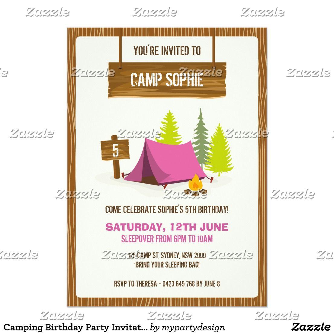 Camping Birthday Party Invitation - GIRL | { Happy Birthday ...