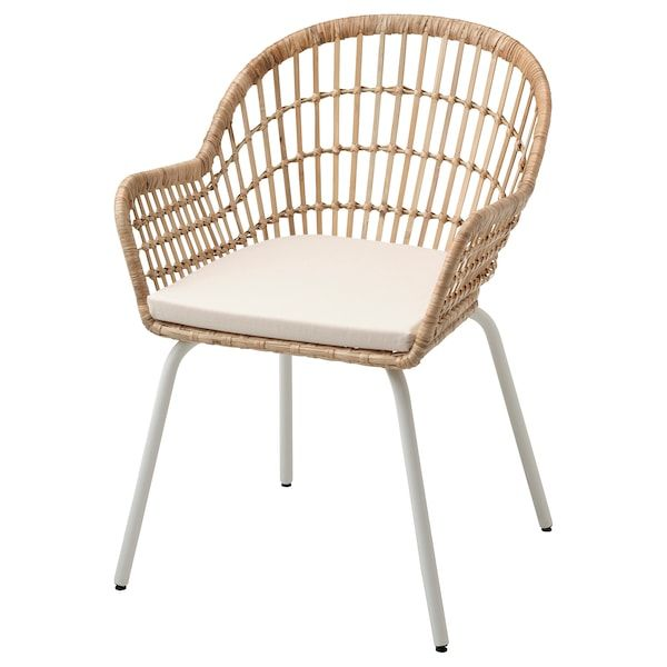 Nilsove Norna Chair With Chair Pad Rattan White Laila Natural Ikea In 2020 Ikea Dining Chair Chair Pads Ikea Chair