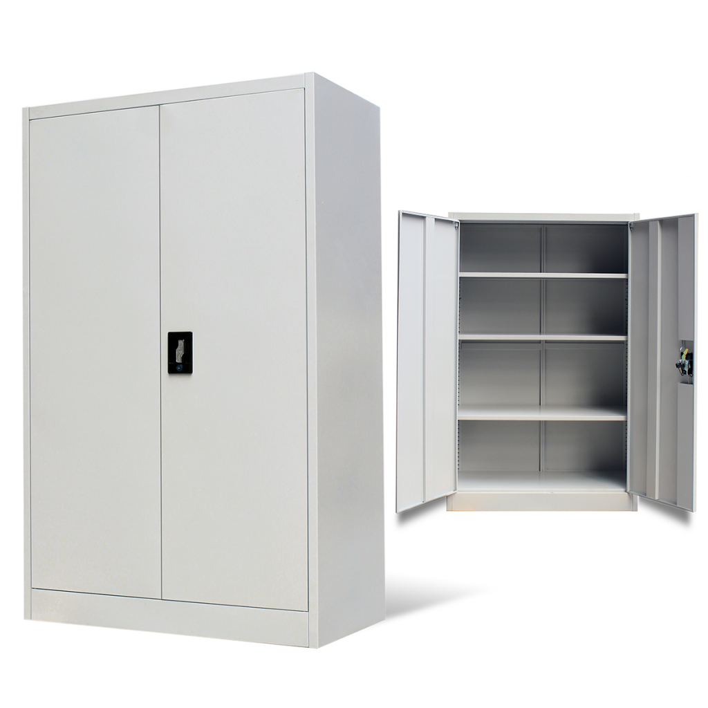 Gray Metal Cabinet For Office With 2 Doors 140 Cm Gray Lovdock Com Office Storage Cabinets Steel Storage Cabinets Office Cabinets