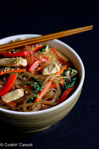 Asian Sweet Potato Noodles Recipe with Chicken & Vegetables   cookincanuck.com by CookinCanuck, via Flickr