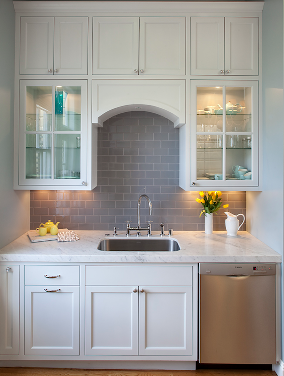 U0027smokeu0027 Grey Glass Subway Tile Backsplash In Classic White Kitchen: Found  At Https