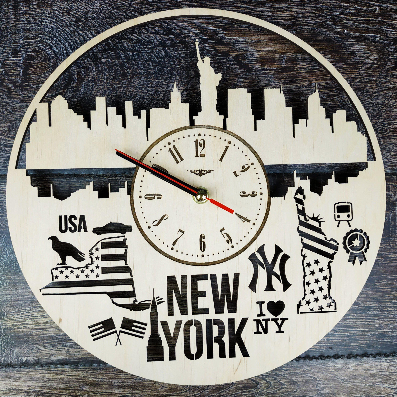 New York Wall Clock Us States Home Living Room Office Kitchen Etsy In 2020 Wall Clock Clock Handmade Wall Clocks