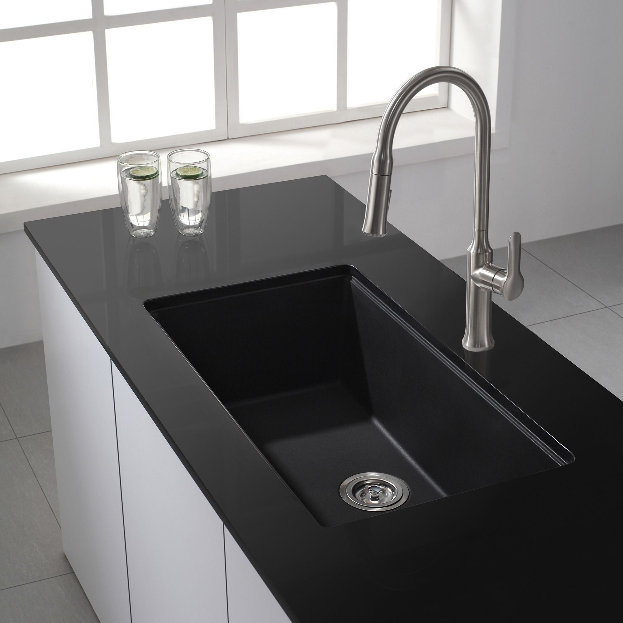 Kraus 31 inch Undermount Single Bowl Black Onyx Granite Kitchen Sink (Onyx Black), Size Over 22