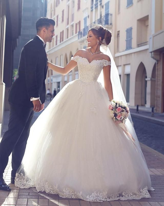 Photo of (Off White Wedding Dress Champagne) | Lace Sweetheart Off Shoulder Tulle Ball Gowns Wedding D…
