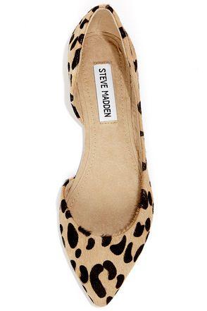 c4c46ce8440b Steve Madden Elusion Leopard Pony Fur D'Orsay Flats | shoes ...