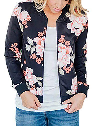 022078c98f2 ChainJoy Women Floral Print Zipper Jacket Classic Long Sleeve Fall Short  Bomber Jacket Coat