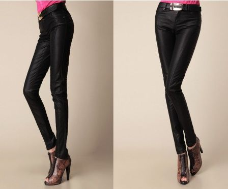 Matt splice leather pants fashion washed pencil pants Item ID: CP02169