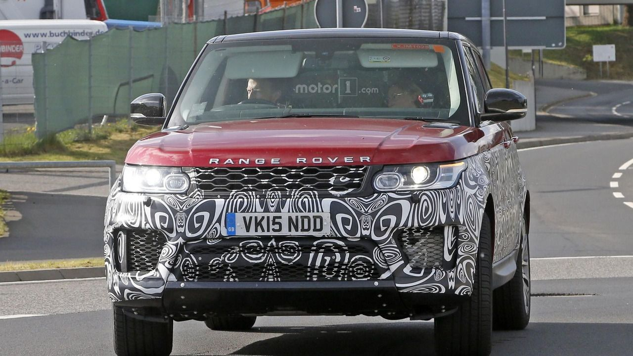 A test mule of the upcoming land rover range rover sport has been captured in the