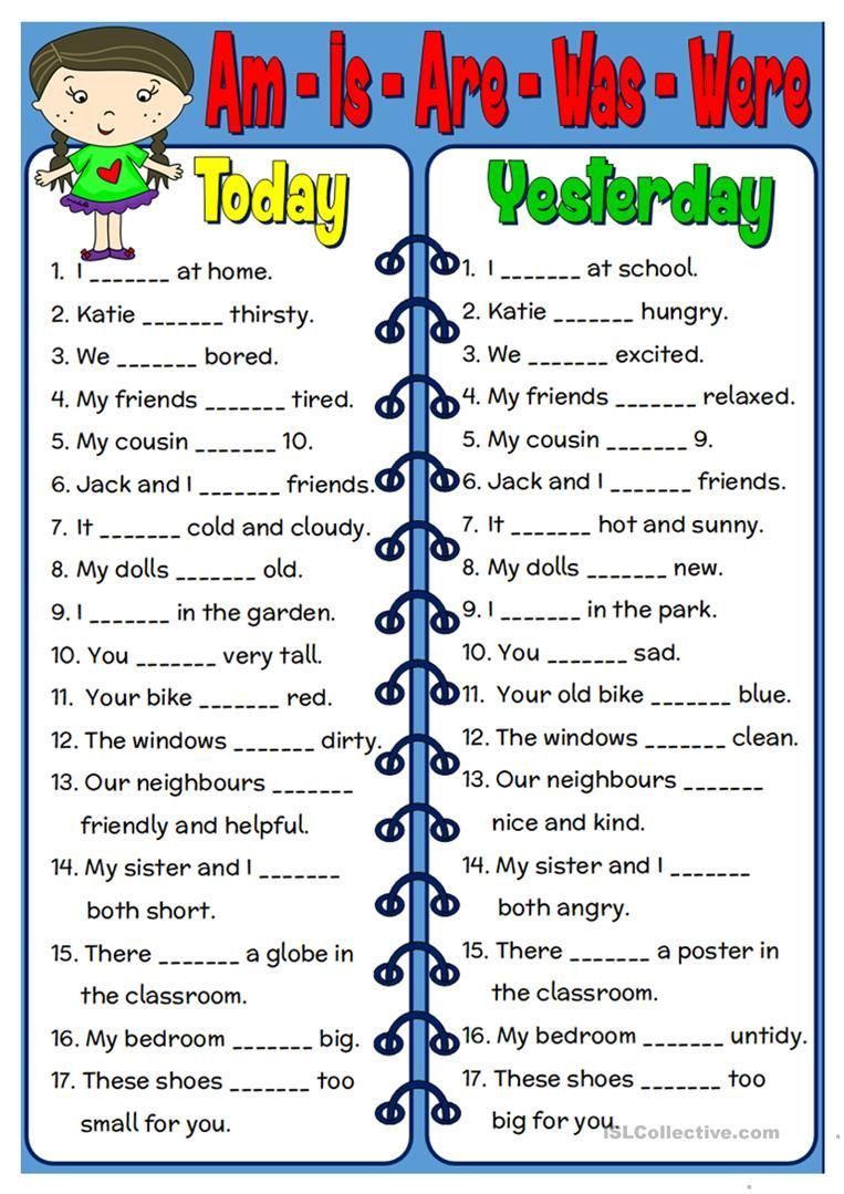 Am - Is - Are - Was - Were worksheet - Free ESL printable worksheets made  by te…   English grammar worksheets [ 1079 x 763 Pixel ]