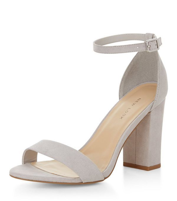 Pale Grey Suedette Ankle Strap Block Heels