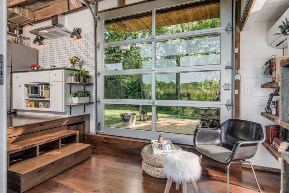 tiny house with garage. View Out Garage Door Closed - The Alpha Tiny Home By New Frontier Homes House With N