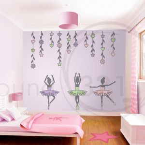 27c1c1bd554 Ballerina Girls with Flowers Wall Decal | Round321.comRound321.com ...