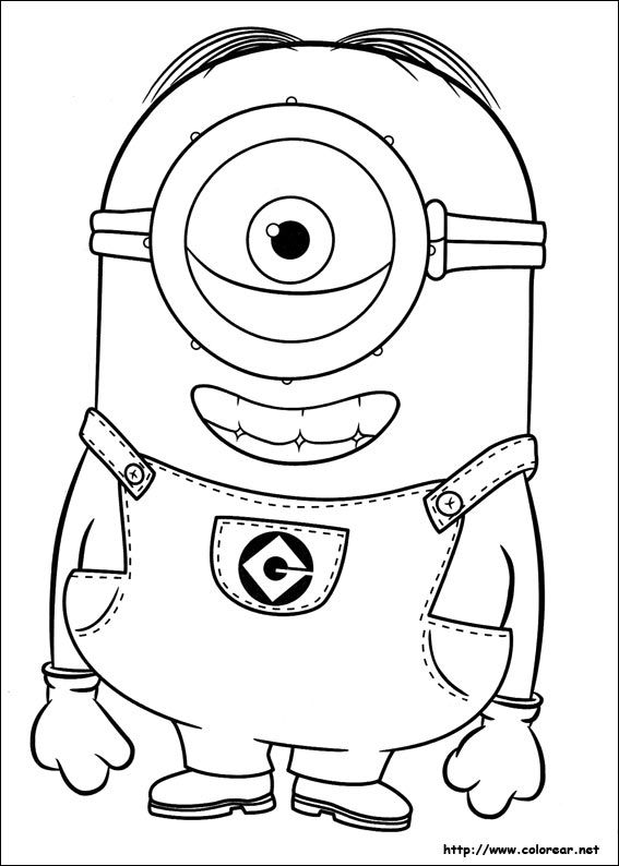 Free Coloring Pages Minions Minion With Fruit Hat Coloring Page