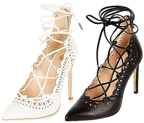 526d523fbd0 River Island Laser Cut Lace-Up Heels in white and black faux leather ...