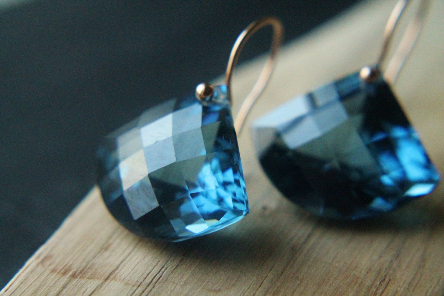 Blue Topaz Earrings Dark London Rose Gold Simplistic Geometric Art Deco Handmade Jewelry Mother S Day Gifts For Her