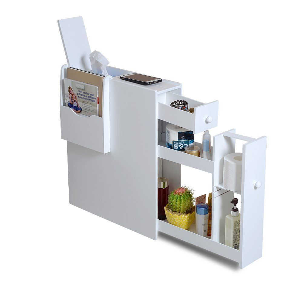 Organizedlife White Bathroom Floor Cabinet Storage with Drawer and ...