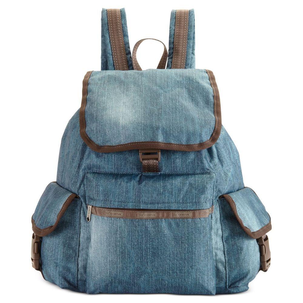 lesportsac voyager backpack book bag denim blue nylon w brown trim 7839 blue denim sports and. Black Bedroom Furniture Sets. Home Design Ideas