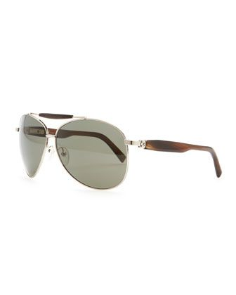 Horn & Metal Aviator Sunglasses, Silver by Brioni at Neiman Marcus.