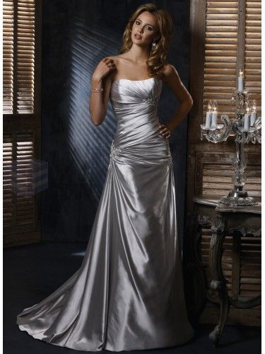 Satin Dipped Strapless Neckline A-line Wedding Dress