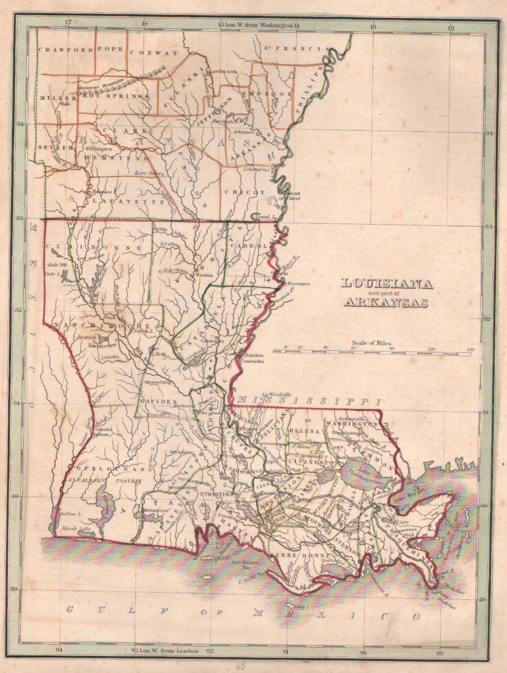 Louisiana Map 1835 Maps Pinterest