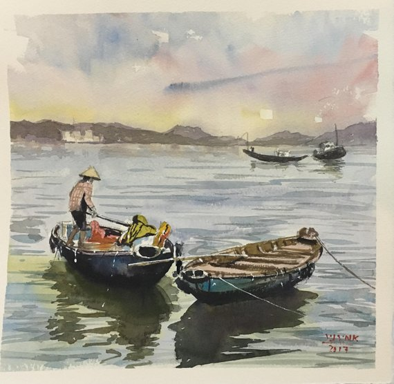 Watercolor Painting Watercolor Sea Painting Fishing Boats