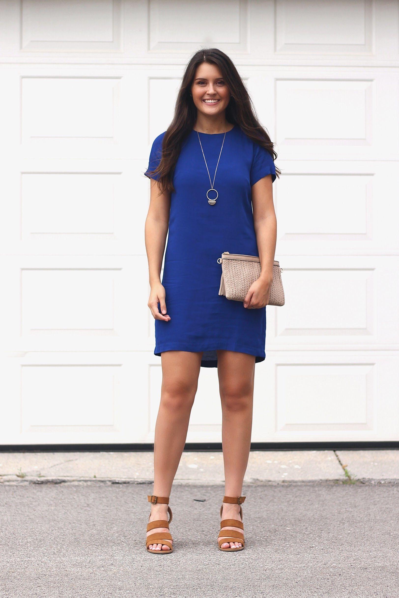 best site diverse styles finest selection A royal blue shift dress. Wedding guest attire. Summer ...