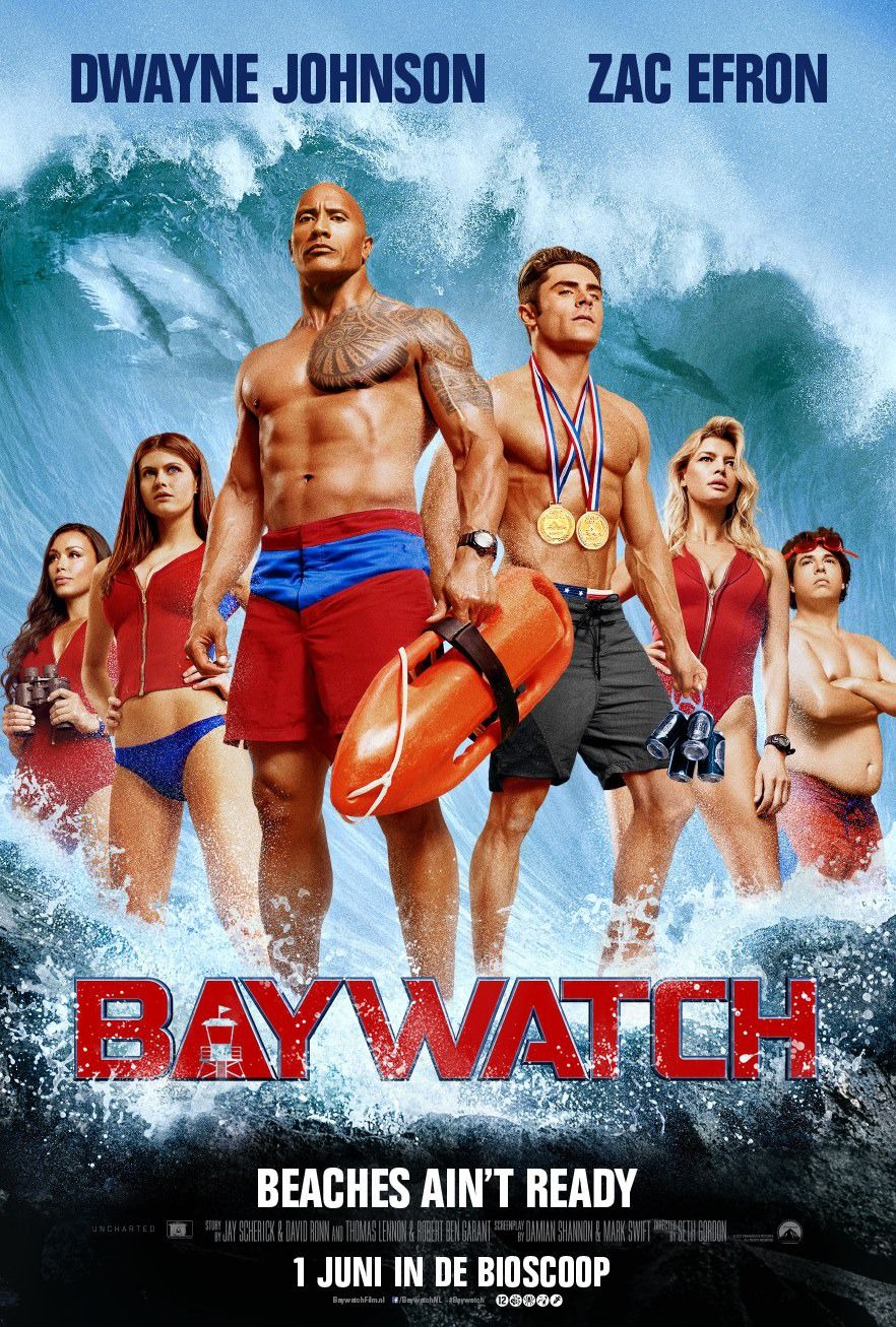 Baywatch Dwayne Johnson Zac Efron Rohrbach Daddario Chopra Movie Poster 24X36
