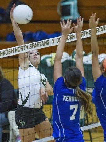 Oshkosh North S Samantha Foote Kills A Shot Over Appleton West Defenders Thursday In The Third Set Sports Oshkosh Sports Jersey
